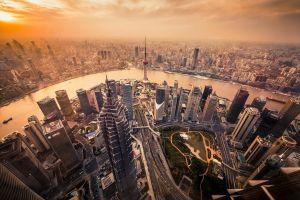 skyscraper sunset city shanghai cityscape river