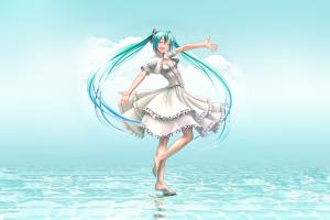 smiling anime hatsune miku aqua hair closed eyes open mouth anime girls dress wokada vocaloid barefoot