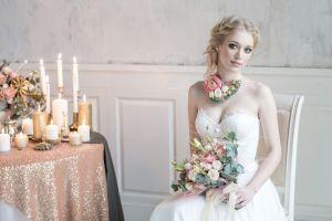 smiling blue eyes wedding dress brides women bouquets cleavage blonde fair skin