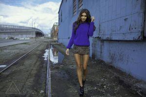 smiling skirt portrait women outdoors skinny ashley valenzuela