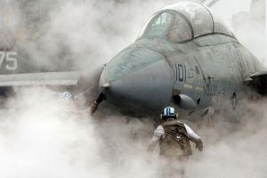 smoke aircraft f-14 tomcat military aircraft