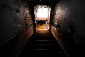 smoke dark stairs black