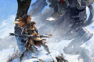snow aloy (horizon: zero dawn) thunderjaw horizon: zero dawn bow and arrow