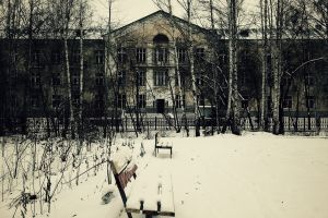 snow bench house building russia winter