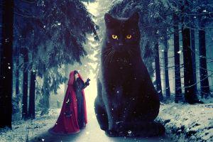 snow black cats cats little red riding hood digital art winter photo manipulation
