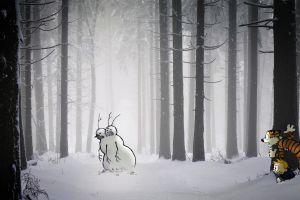 snow cartoon calvin and hobbes