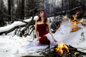 snow forest model women outdoors pierced lip veils long hair winter fire nature surreal red dress brunette bare shoulders trees