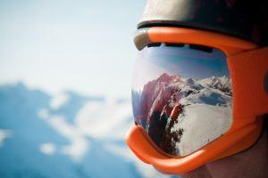 snow mountains reflection goggles helmet