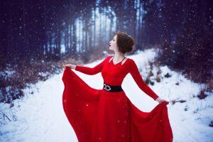 snow red women dress