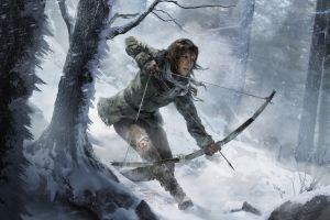 snow rise of the tomb raider lara croft bow and arrow