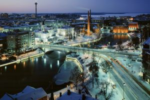 snow tampere city lights evening cyan winter river finland horizon bridge calm ice city street long exposure