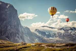 snowy mountain nature landscape hot air balloons mountains