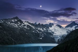 snowy peak glaciers mountains sunset moon lake clouds landscape nature evening