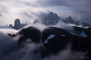snowy peak mist alps summit italy mountains clouds nature landscape