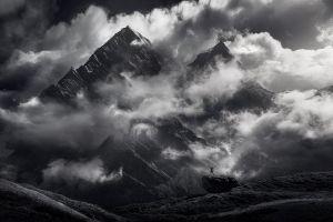 snowy peak nature dark himalayas monochrome landscape mountains clouds