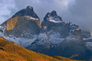 snowy peak nature landscape clouds chile mountains torres del paine