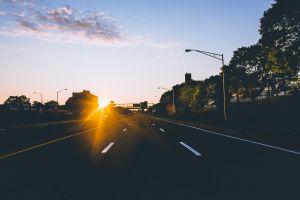soft highway sunlight urban road lens flare