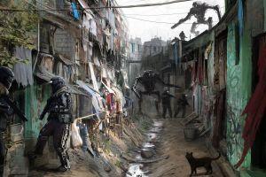 soldier artwork slum mech filip dudek futuristic alleyway