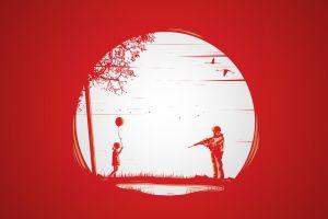 soldier red background children artwork military balloon