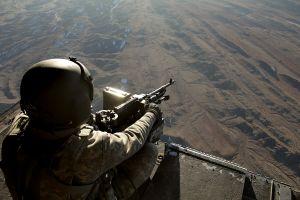 soldier weapon machine gun aerial view military camouflage