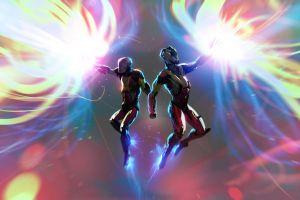 space cyborg digital art artwork colorful fire