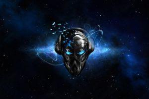 space digital art mask music blue eyes skull artwork headphones stars shattered