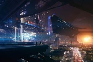 space futuristic spaceship cyberpunk lights mass effect fantasy art