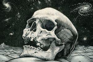 space galaxy artwork spiral galaxy drawing digital art skull hills stars teeth monochrome