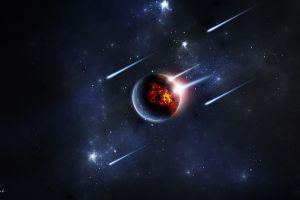 space meteors planet digital art