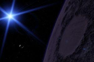 space planet deep space digital art glowing universe stars lens flare
