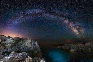 space rock coast sea long exposure milky way landscape nature starry night lights