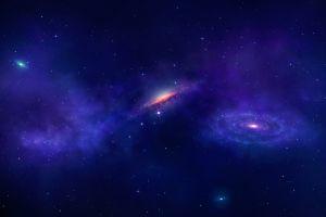 space spiral galaxy universe digital art planet stars galaxy blue