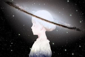 space stars white hair universe