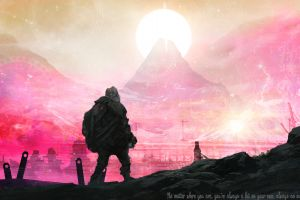 space time travel colorful mountains the end quote journey (game) sun