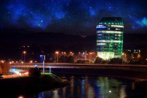 space vilnius nebula city evening long exposure photo manipulation