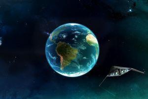 spaceship planet science fiction earth space art digital art space