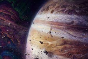 spaceship planet space digital art universe asteroid meteors
