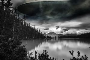 spaceship ufo fantasy art digital art water