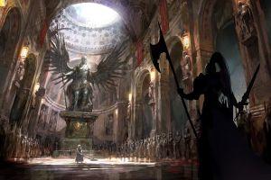 spear warrior statue digital art sword guards angle castle