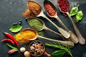 spoons spices colorful