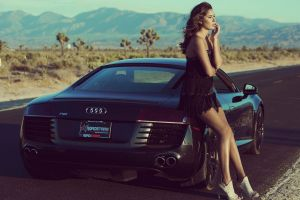 sports car brunette stiletto women outdoors audi r8 high heels women with cars audi road long hair audi r8 v8 car women audi r8 type 42 model