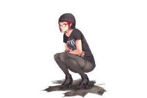 squatting redhead glasses panty hose maple leaves kopianget