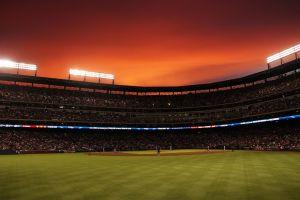 stadium baseball sunset