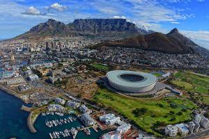 stadium city aerial view cape town landscape cityscape harbor