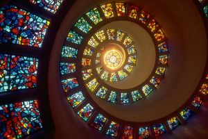 stained glass colorful building spiral