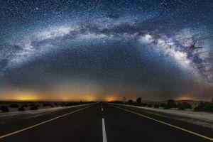 starry night night sky stars desert road