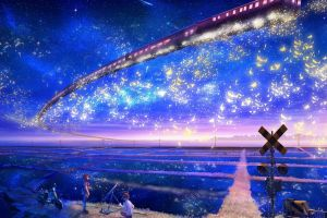 stars anime landscape colorful night sky sky vehicle train
