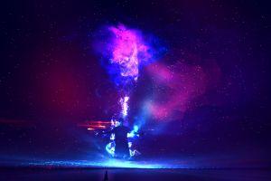 stars galaxy digital art sky