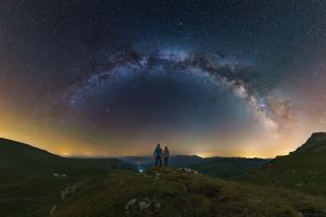 stars galaxy milky way people nature night sky