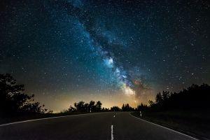 stars landscape night street